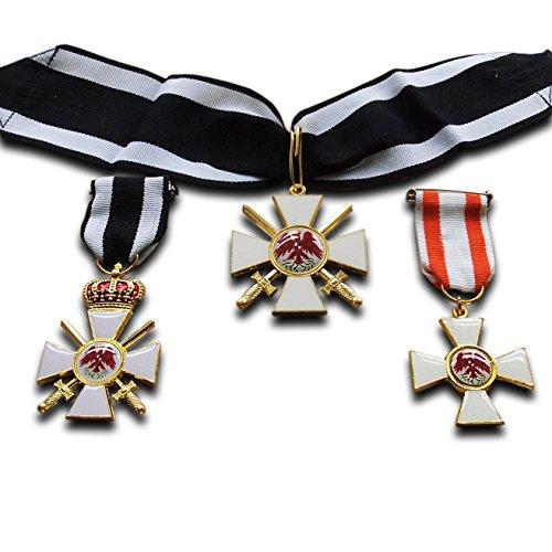 Trikoty Juego de medallas Prusian Imperial Militar Repro de la Orden del Águila Roja 2º Clase + 3º Clase