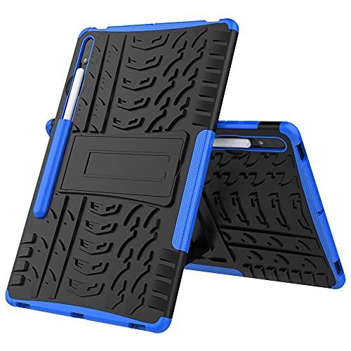 YANCAI Funda Protectora Cubierta de la Tableta para Samsung Galaxy Tab S7 Plus Neumático Textura TPU a Prueba de Golpes TPU + PC Funda Protectora con Soporte de Mango Plegable (Color : Dark Blue)