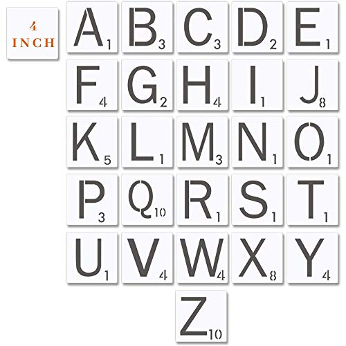 Scrabble Style Tile Stencil Letters - 4 Inch 18 Mil Mylar Stencil Template for Tile Wall Decor Art | 4x4 INCH Stencil | 3 INCH Letters | Thick, Durable, Multi-Use and Long Lasting