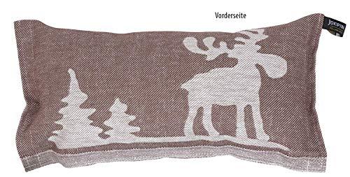 JOKIPIIN | 1 Saunakissen und Reisekissen ELCH, 40 x 22 cm, Leinen/Baumwolle, Made in Finland (braun/weiß)