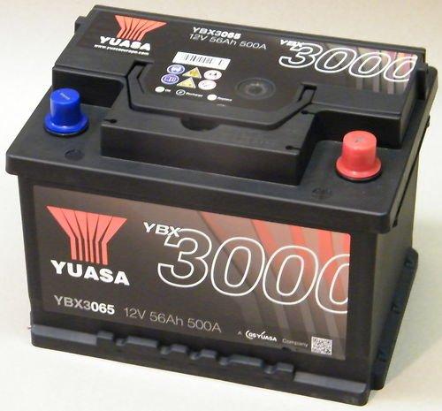 Yuasa YBX3065 Batería de coche SMF Starter recargable 12V 56Ah 500A
