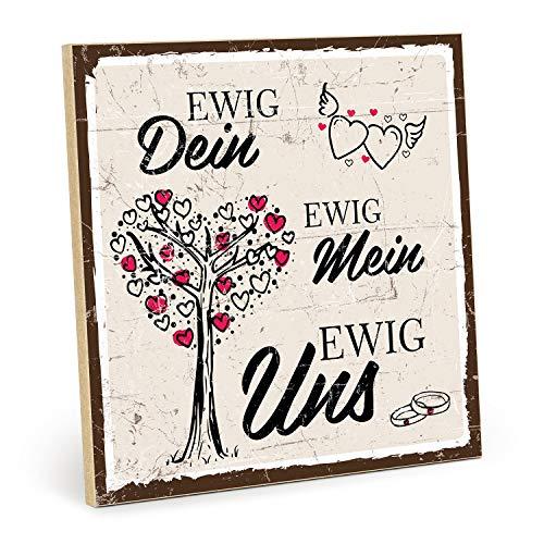 TypeStoff Holzschild mit Spruch – EWIG Dein – EWIG Mein – EWIG Uns – Grafik-Bild bunt, Schild, Wandschild, Türschild, Holztafel, Holzbild als Geschenk und Dekoration (19,5 x 19,5 cm)