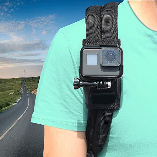 ParaPace Schultergurthalterung für GoPro Hero 8 7 6 5 4 3 +, Pack Mount Verstellbarer Schultergurthalter mit 360-Grad-Drehhaken für Action-Kameras, Xiaomi, SJCAM