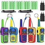 Walkie Talkie Niños Recargable con 2 Cargadores USB 15 Bateria Recargable Walky Talky 8 Canales 3KM Largo Alcance Función de VOX LCD Juguetes de Camping Senderismo