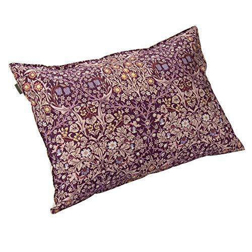 東京 西川 枕カバー 63X43cmのサイズの枕に対応 ワイドサイズ 洗える 綿100% モリスギャラリー ブラックソーン 柄 ファスナーレス ワイン PJ90250606WN