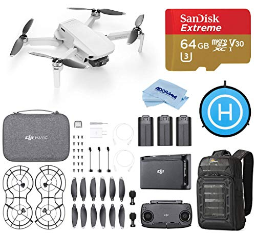 DJI Mavic Mini Fly More Combo Drone FlyCam Quadcopter with 2.7K Camera Starter Bundle with Backpack, 64GB microSD Card, Landing Pad, and Cloth