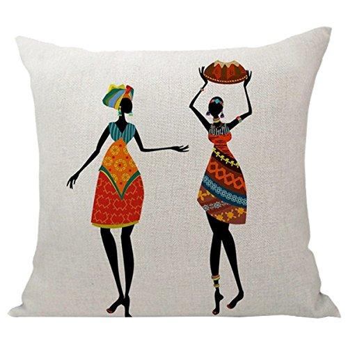 SODIAL Home Decoración, Bellas Mujeres Africanas Estilo étnico Arte Imágenes Lino Cojines Funda de Almohada Cojín de Coche Sofá Cojín Mujer # 8