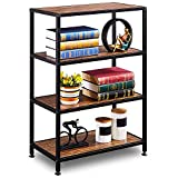 GreenForest Industrial Bookcase 4 Tier Rustic Bookshelf Metal Frame for Home and Office Walnut