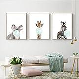 Home+Malerei Niedliche Blaue Kaugummi Tier Zebra Giraffe