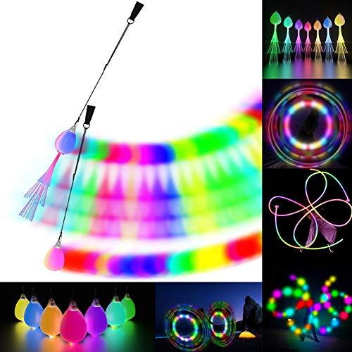LED POI Balls Fiber Optic Lights USB Rechargeable 20 Vibrant Color Light Modes and Flashing Patterns...
