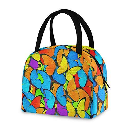 RELEESSS - Bolsa térmica para el almuerzo, diseño de mariposas, reutilizable, para mujeres, hombres, niñas y niños