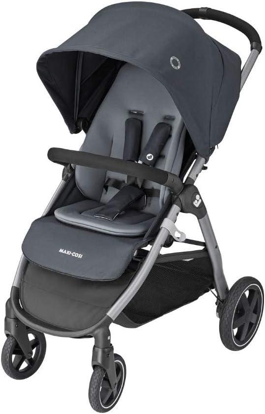 Maxi-Cosi Gia Cochecito de 0 meses a 22 kg, plegable con una sola mano, reclinable con posición para dormir, cesta grande, color essential graphite