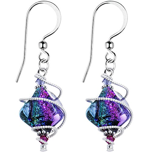 Body Candy Handcrafted 925 Silver Purple Dichroic Drop Dangle Earrings Created with Swarovski Crystals