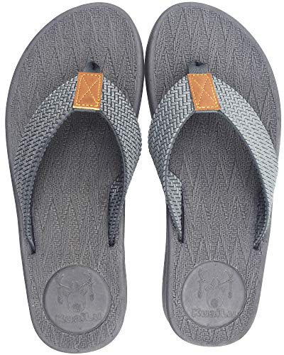KuaiLu Mens Flip Flops Thong Sandals Yoga Foam Slippers