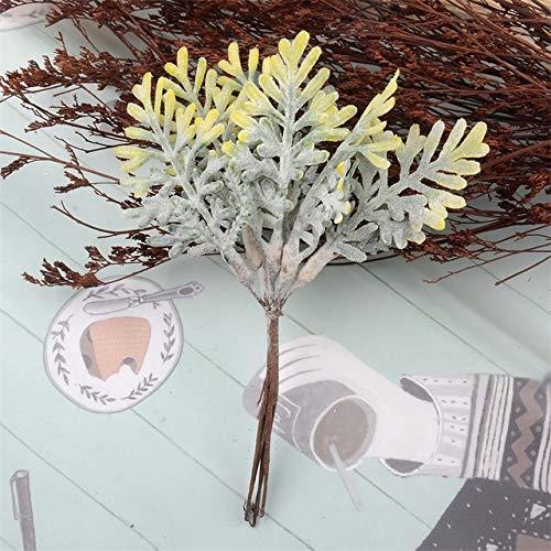 RAP 30 stuks eikenblad kunstbloemen plant voor hoofdkrans scrapbooking bruiloftsdecoratie geel geel