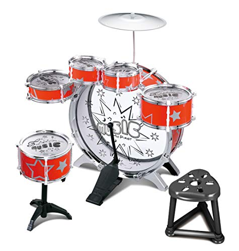Childs Kids Drum Kit Jazz Band Sound Drums Play Set Musical Toy With Stool (Red)