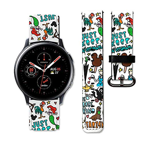 Catoon Princess Band Compatible with Samsung Galaxy Watch 3 Active 2 40mm 41mm 42mm 45mm 46mm Gear S3 S2 and Other Watches 20and 22mm Wristband Straps Leather Bands 10 (20mm)