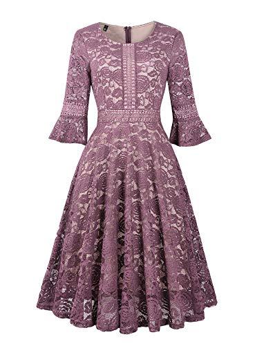 Twinklady Women's Vintage Full Lace Bell Sleeve Big Swing, Pink, Size XX-Large