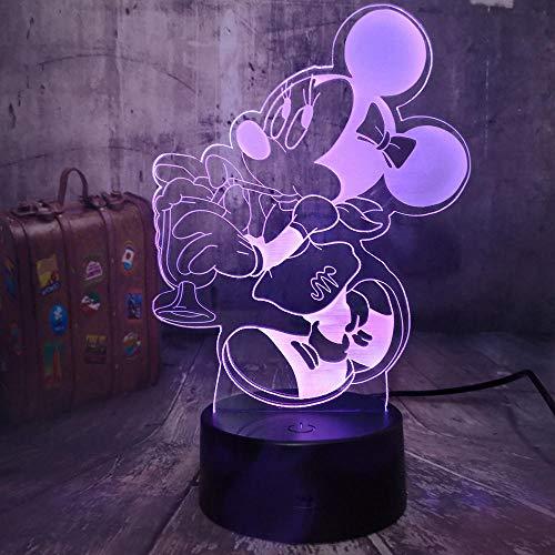 Regalo para niñas, lindo ratón para beber, luz de noche LED 3D, lámpara de escritorio de 7 colores, dormitorio, decoración de fiesta de Minnie, regalo de cumpleaños para bebés y niños, control remoto
