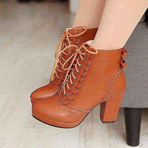 Shukun enkellaarzen herfst en winter vintage gesneden opengewerkte strik met dikke hak laarzen hoge hak damesschoenen Martin laarzen