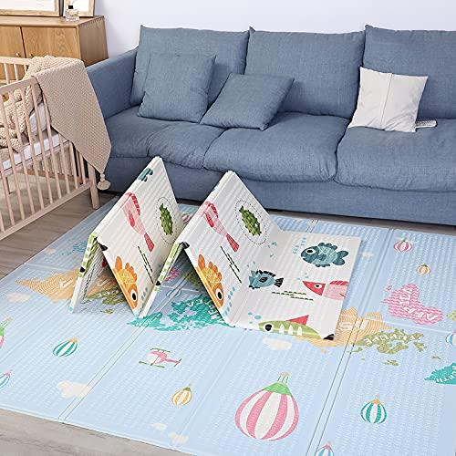 Alfombra Gateo Infantil Impermeable, Reversible y Plegable 160x180x1cm. Esterilla Bebe Ideal para la habitación del niño o la niña. Gran formato SUPERBE BEBE (B)