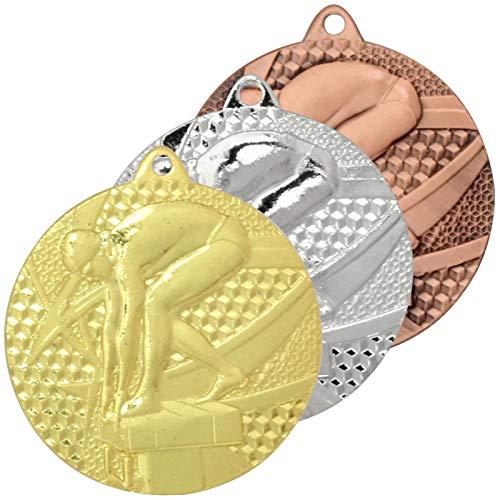 pokalspezialist 10 Stück Medaille Schwimmen 1 Medaillen rund 3er Set je 1 x Gold Silber Bronze
