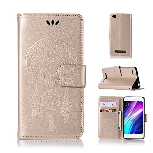 BCIT Xiaomi Redmi 4A Funda - [Patrón de búho] Carcasa Libro de Cuero con Tapa y Cartera,Soporte Plegable,Ranuras para Tarjetas y Billetera,Cierre Magnético para Xiaomi Redmi 4A - Oro