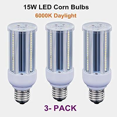15W(120 Watt Equivalent) LED Corn Light Bulb,1500 Lumens Bright Led Bulbs,6000K Daylight White,E26 Medium Screw Base,Home Light,Ceiling Fans,Porch Lights(3 Pack)