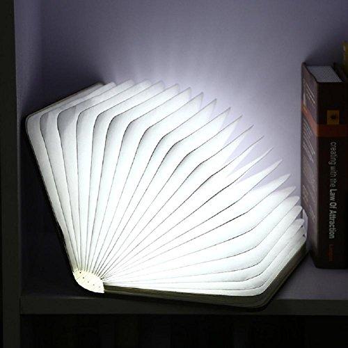 Lampes de Bureau Lampe de Table Flip Book Lampe LED USB en Bois Charge Pliage veilleuse, White Light