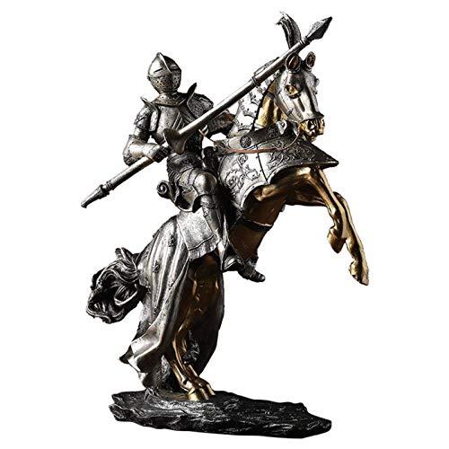 LGR Skulptur Statue Ornament Europäische Retro Römische Kataphrakt Soldat Statue Mittelalterliche Rüstung Pferdeskulptur Figur Harz Handwerk Heimdekoration Ritter