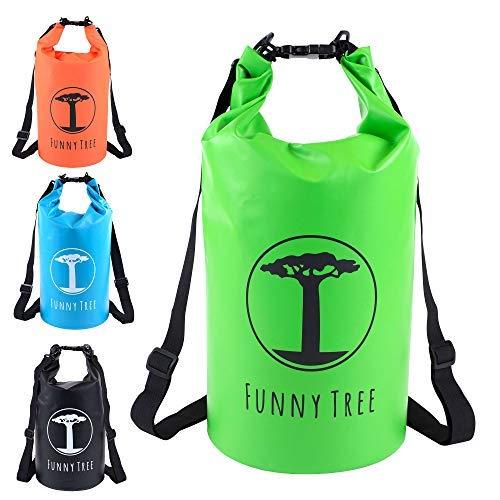 Funny Tree® Drybag. (20L grün) Wasserdichter (IPx6), verbesserter DryBag, schwimmfähig. Inklusive wasserdichter Handy-Hülle | Stand Up Paddle | Wassersport | Ski-Fahren | Snow-Boarden | Tauchen