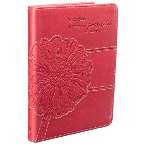 Christian Art Gifts Pink Faux Leather Journal | All Things Are Possible Mathew 19:26 Bible Verse | Handy-sized Flexcover Inspirational Notebook 240 Lined Pages, Gilt Edges, 5.5 x 7 Inches