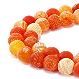 JARTC Natural Orange Frosted Agate Round Stone Beads for Jewelry Making DIY Bracelets Necklaces (8mm)