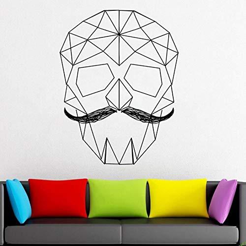 Boezhl Calcomanías de Vinilo de Calavera geométrica Pegatina de Vinilo de Pared geométrica Papel Origami decoración de Pared Mural 48x63 cm