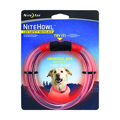 Nite Howl LED Safety Necklace, Reusable Visibility Necklace for Pets, Red, Model Number: NHO-10-R3
