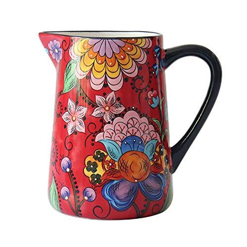 ZCRFYY Rot Küche Krug Milchkännchen, Emaille Kaffeetasse Teekanne 1.6 L/56OZ Wasserkocher Kaffeekanne Kessel Nostalgie Thermoskanne,Für Induktions Herd Und Gas Herd,Rosa,1.6L