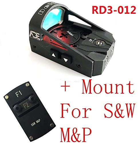 Ade Advanced Optics Delta RD3-012 Red Dot Reflex Sight + Optic Mounting Plate for SW Smith Wesson MP/MP 2.0 Shield Pistol and Also a Standard Picatinny Mount
