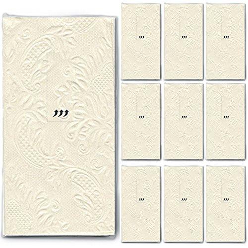 100 Taschentücher (10 x 10) Moments Ornament creme/beige - Uni mit Ornamente geprägt/Hochzeit/Freudentränen