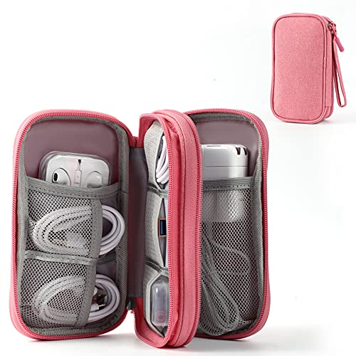 Electronic Organizer Pouch Bag, 3 Compartments Travel Cable Organizer Bag Pouch Portable Electronic Phone Accessories Storage Multifunctional Case for Cable, Cord, Charger, Hard Drive, Earphone(Pink)