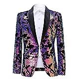 PYJTRL Men Fashion Velvet Sequins Floral Pattern Suit Jacket Blazer (Velvet - Purple, L)