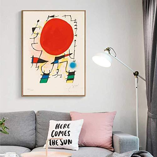Nordic Modern Joan Miro Surrealismo Pinturas artísticas Cuadro abstracto Cartel de lienzo retro Pared para sala de estar Decoración del hogar 30x40cm (11.8x15.7in) Sin marco