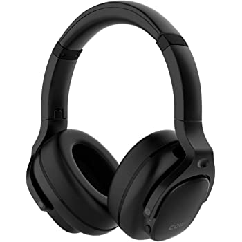 COWIN E9 Active Noise Cancelling Headphones Bluetooth Headphones Wireless Headphones Over Ear with Microphone, Comfortable Protein Earpads, 30 Hours Playtime for Travel/Work, Black