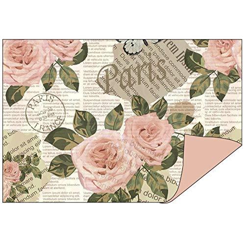 Papel decorativo en diseño doble, 1 lado con decoración, 1 lado de un solo color, 10 x 15 cm, papel plegable, papel para manualidades, papel decorativo de 110 g/m², 50 unidades Rosas/palisandro
