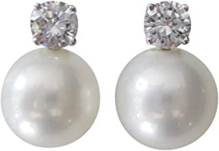 """CZ by Kenneth Jay Lane""""Jarin K"""" CZ and 10 mm Freshwater Cultured Pearl Stud Pierced Earrings"""