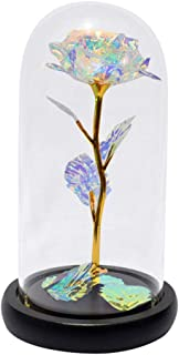 m·kvfa Romantic Glass Eternal Flower Immortal Flower Home Furnishing Decoration Home for Valentine's Day,Wedding Party, Christmas, Anniversary (White)