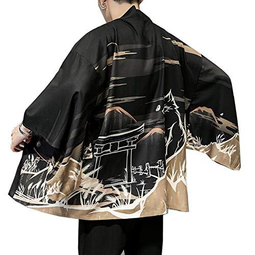 Aden Herren Kimono Cardigan Japan Happi Jacke Yukata Mantel Langarm Baggy Drucken Tops