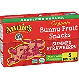 Annie's Organic Bunny Fruit Snacks, Summer Strawberry, 5 Pouches
