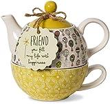 Pavilion Gift Company - Tetera y taza de cerámica para un amigo, 15 onzas, multicolor