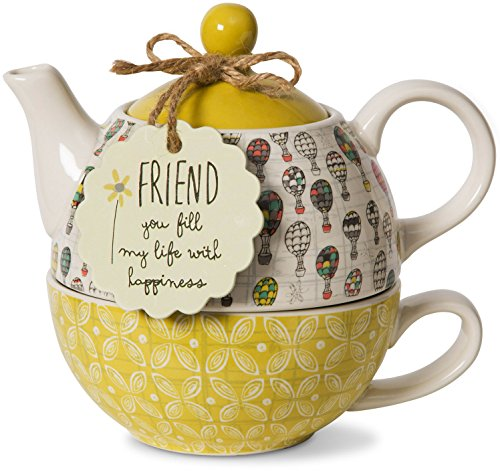 Pavilion Gift Company Friend Ceramic Teapot and Cup for One, 15 oz,...