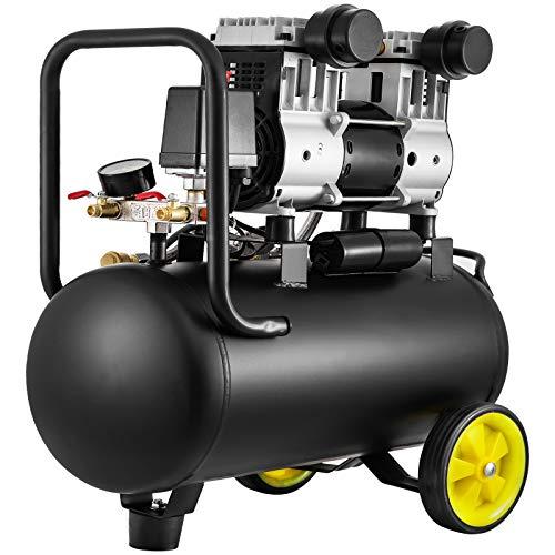 VEVOR Compressore Aria Compressa Silenziato 30 Litri Senza Oilo 67dB 170L/min 980W Ruota Portatile